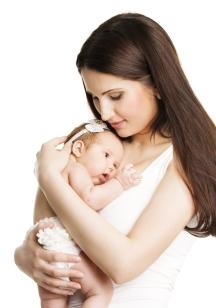 Mother Newborn Baby Family Portrait, Mom Embracing New Born Kid,