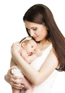 Mother Newborn Baby Family Portrait, Mom Embracing New Born Kid,